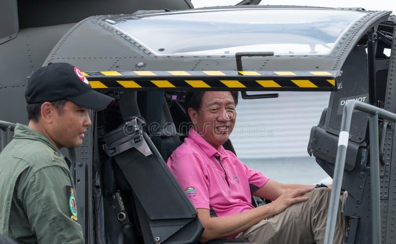 张志贤,新加坡总理代理,在新加坡Airshow 2016年 库存照片