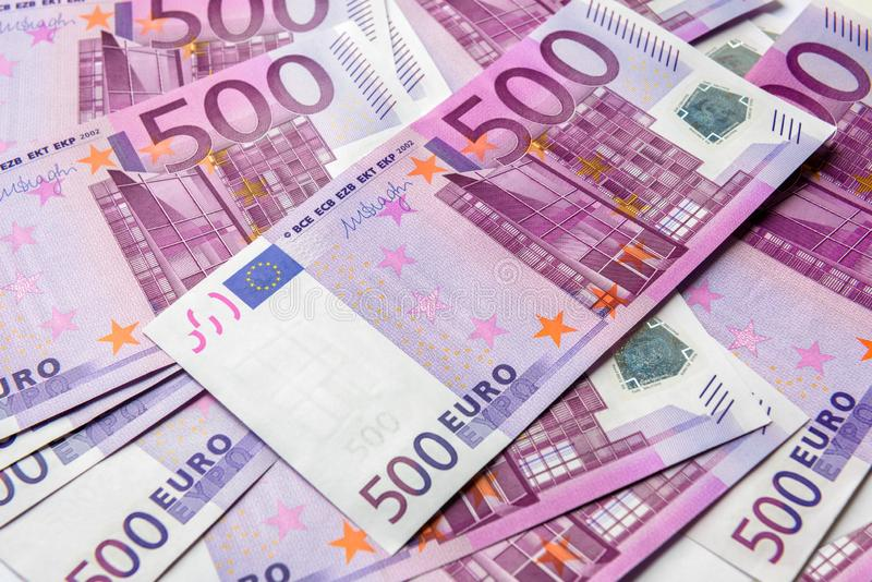 500张欧元金钱钞票背景 免版税库存图片