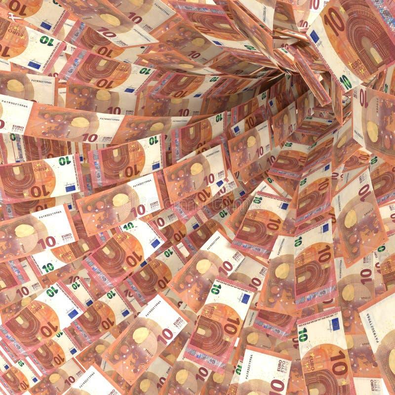 10张欧洲票据金钱漩涡  库存图片