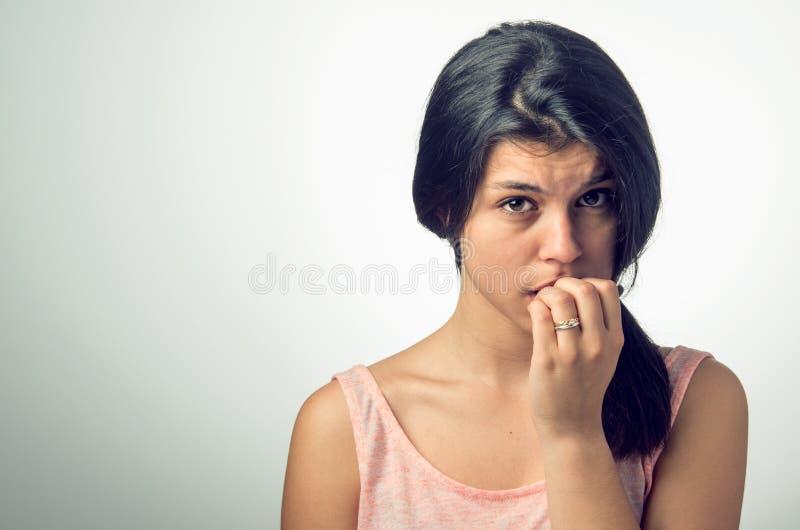 紧张的女孩 免版税库存图片