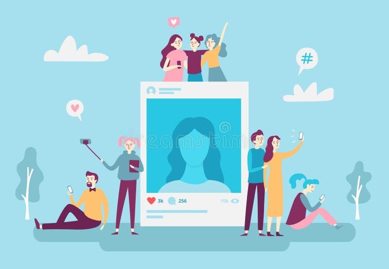 张贴在智能手机的社会网络照片岗位年轻人人民selfie照片 社会媒介瘾传染媒介概念 向量例证