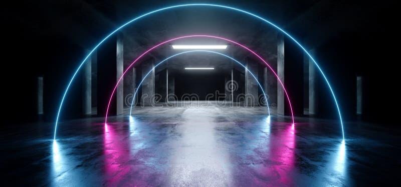 弧卵形霓虹激光紫色蓝色发光的科学幻想小说现代黑暗的具体水泥沥青未来派太空飞船地下车库隧道 皇族释放例证