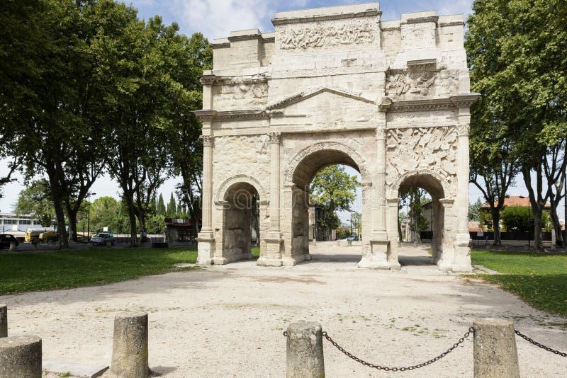 弧de triumph在橙色城市,南法国 免版税库存照片