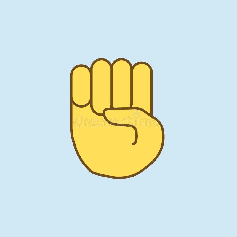 弯手指2种族分界线象 简单的黄色和棕色元素例证 从em的弯的手指概念概述标志设计 库存例证