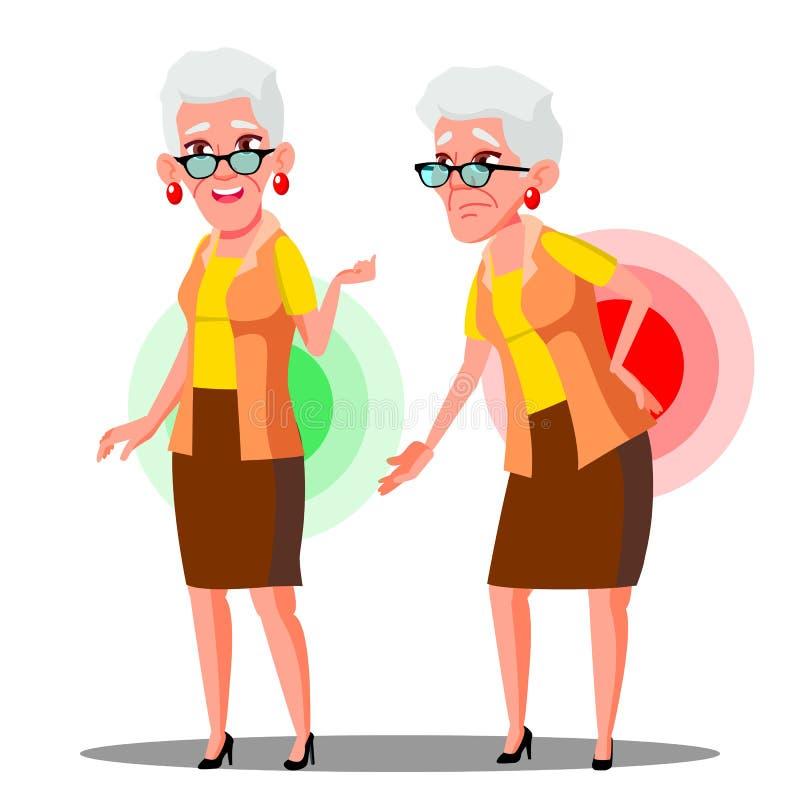 弯曲了在从后背疼痛,坐骨神经痛传染媒介的老妇人 被隔绝的动画片例证 库存例证