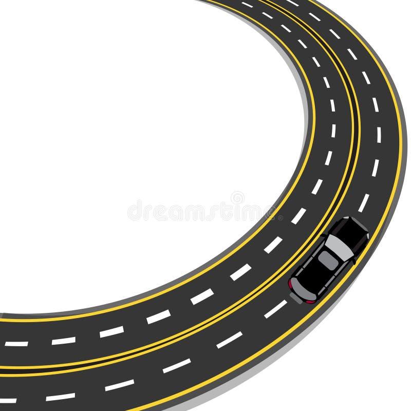 弯曲在有黄色和白色标号的路 自动 例证 向量例证