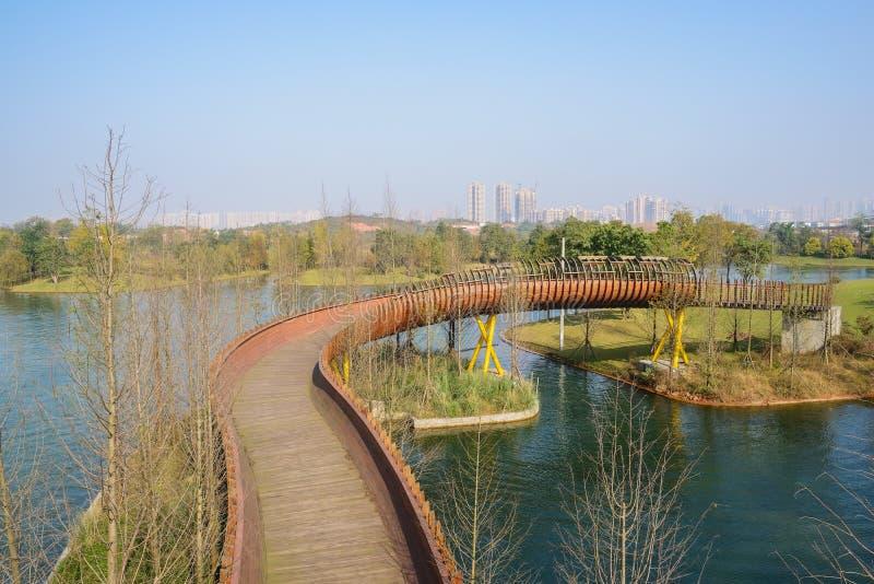 弯曲在水的木人行桥在晴朗的冬天早晨 图库摄影