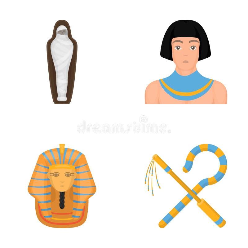 弯曲处和连枷,一个金黄面具,埃及人,坟茔的一个妈咪 在动画片样式传染媒介的古埃及集合汇集象 向量例证