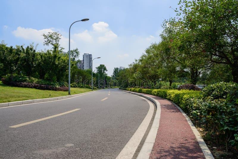 弯曲有红被绘的小径的涂焦油路在城市在晴朗的s 库存照片
