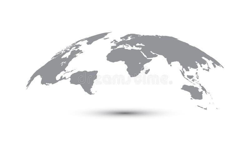 弯曲的世界地图传染媒介,地球行星网站的,年终报告,Infographics,世界地图例证概念地图 库存例证