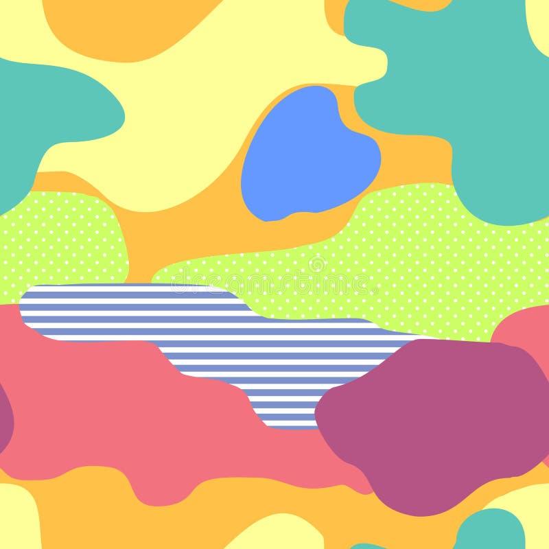 弯曲的五颜六色的流体排行无缝的样式 传染媒介在时髦明亮的梯度颜色的设计模板与摘要 向量例证