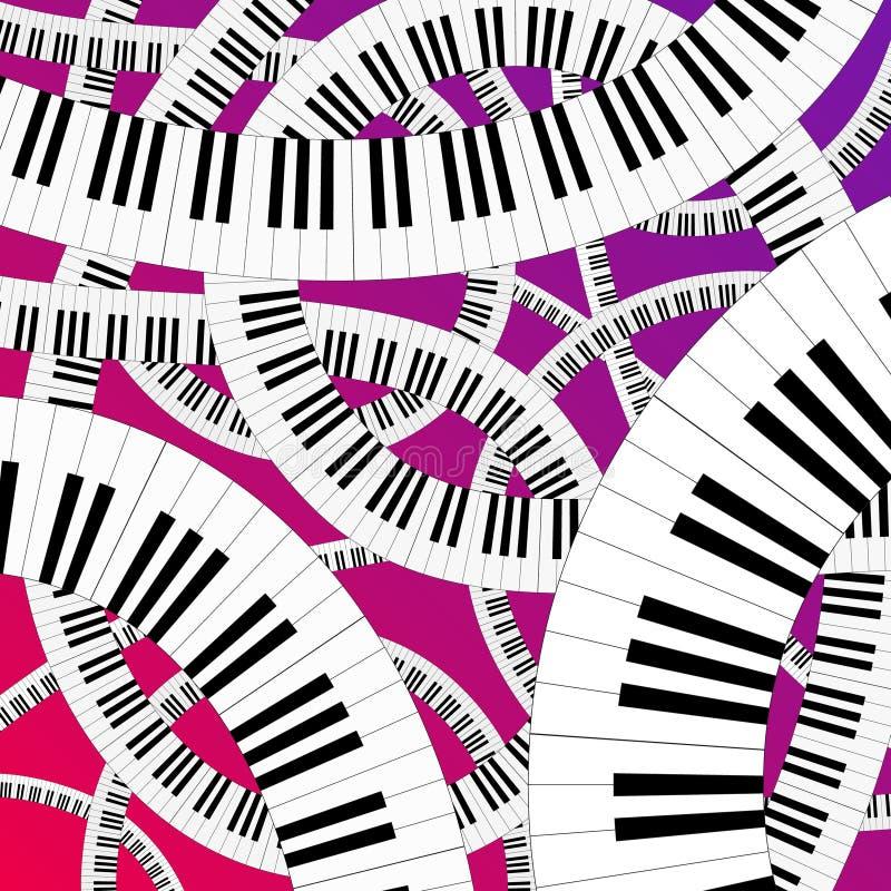 弯曲的关键董事会钢琴 向量例证