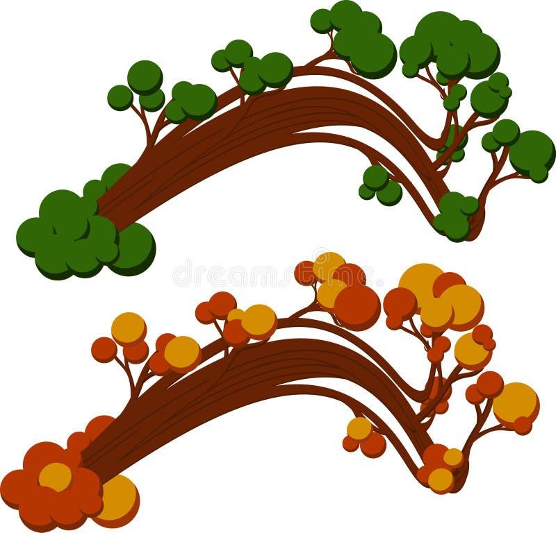 弯曲的树在夏天和秋天 向量例证