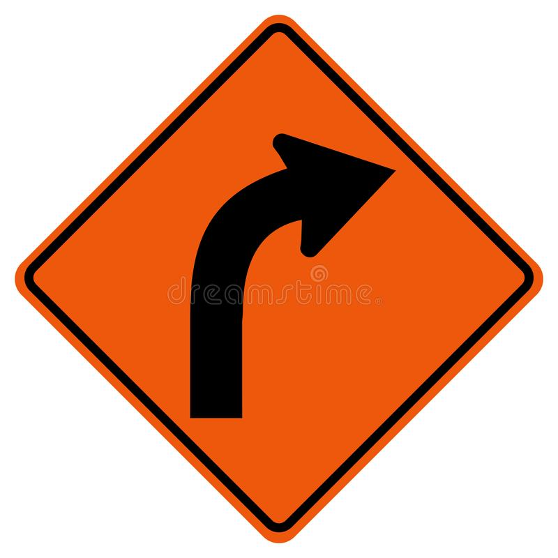 弯曲的正确的交通路标,传染媒介例证,在白色背景,标志,象的孤立 EPS10 向量例证
