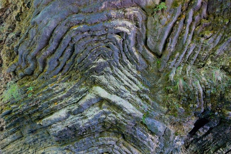 弯曲的水成岩 免版税图库摄影