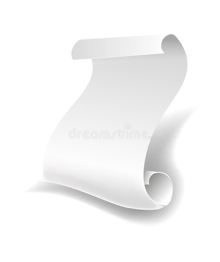 弯曲的空白的白皮书板料卷或原稿支持传染媒介被隔绝的象 库存例证