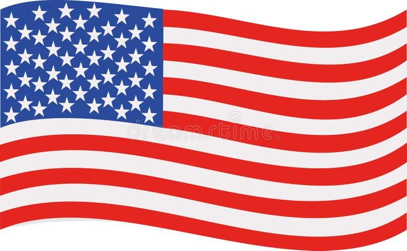 弯曲的美国旗子 库存例证