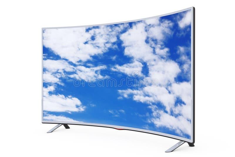 弯曲的聪明的LCD等离子电视或显示器有天空视图 3D renderin 库存例证