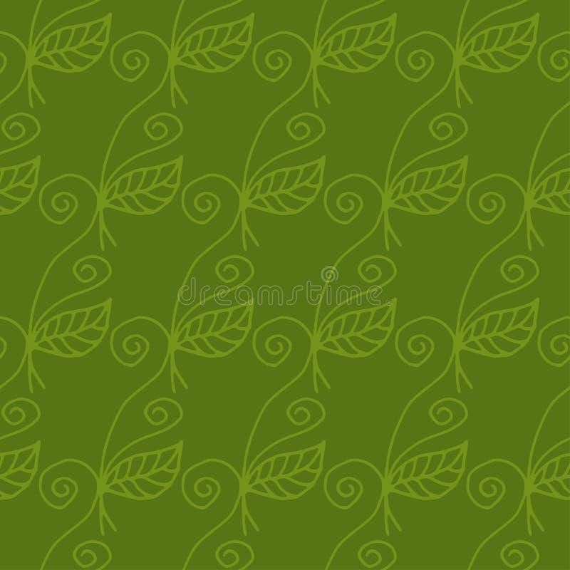 弯曲的花的无缝的样式 向量 向量例证