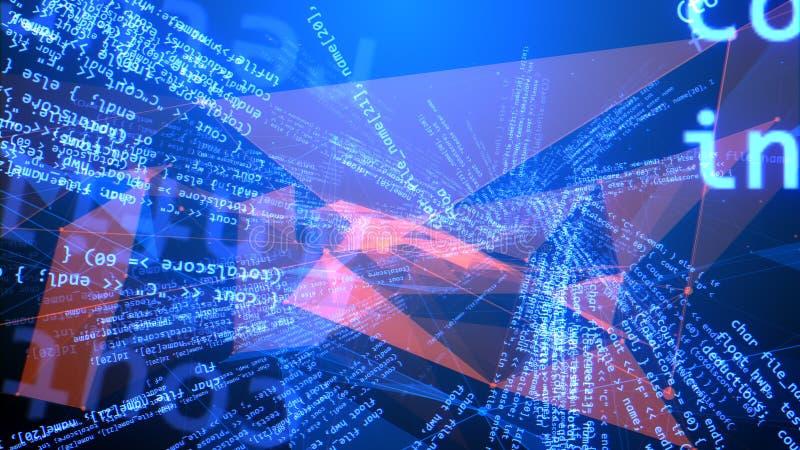 弯曲的蓝色和红色编制程序节目 向量例证