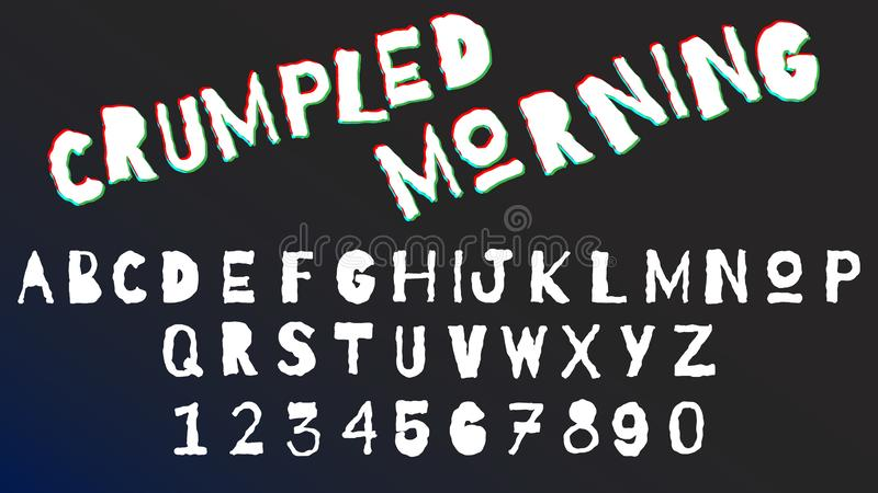 弯曲的被弄皱的信件和数字字体集合 单色字母表,印刷术现代设计概念 向量例证