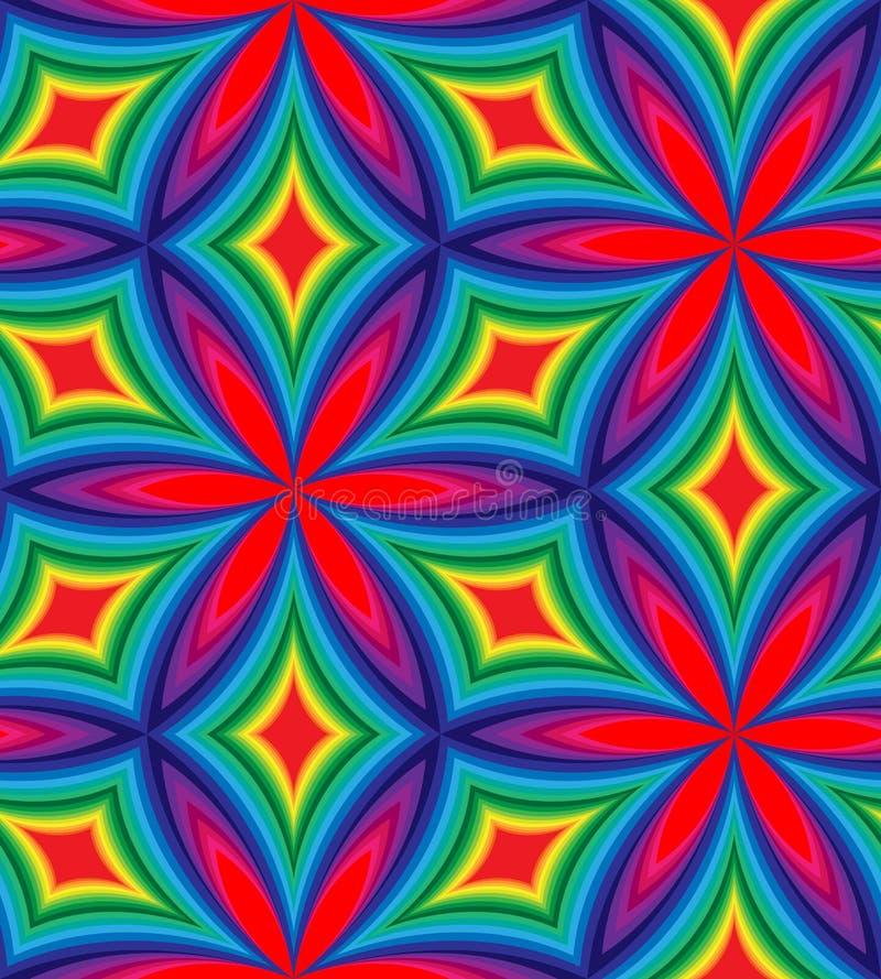 弯曲的金刚石的无缝的五颜六色的样式 几何抽象的背景 向量例证