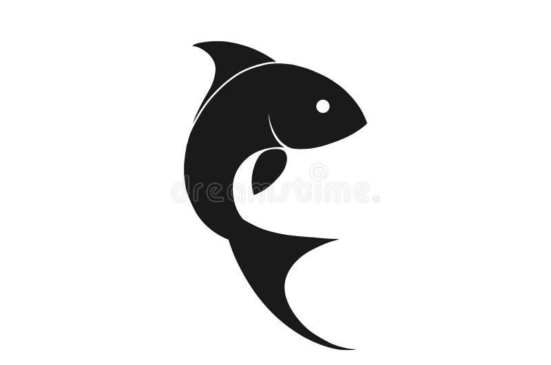 弯曲的鱼现出轮廓象 野生海洋动物的被隔绝的传染媒介图象 库存例证