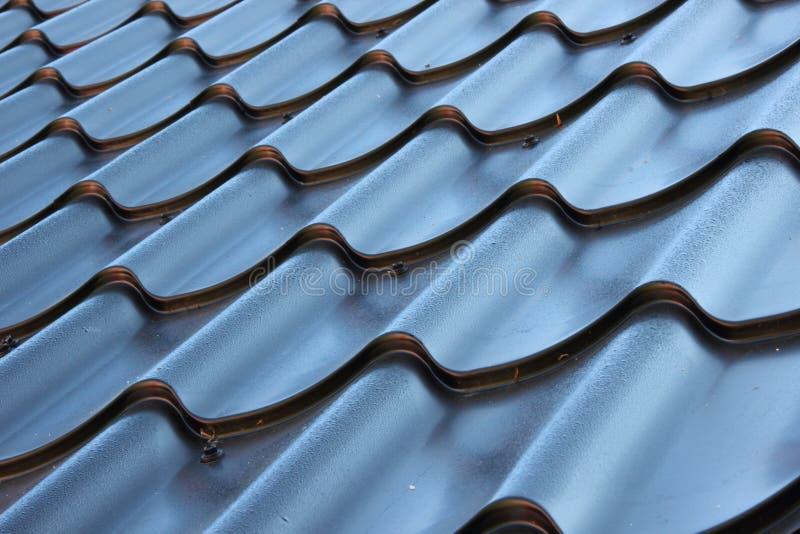 弯曲的黑金属屋顶透视  免版税库存照片