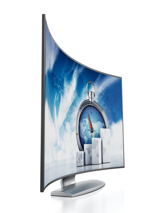 弯曲的OLED电视 向量例证