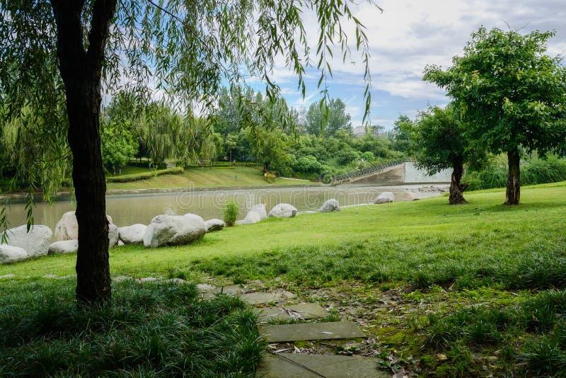 弯曲石板道路在多云夏天平均观测距离河沿的草坪  免版税图库摄影