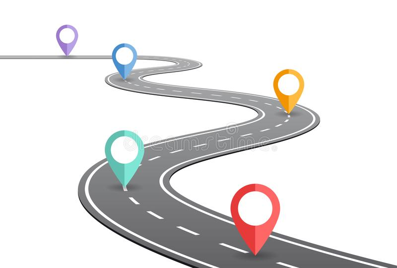 弯曲道路时间安排概念 向量例证