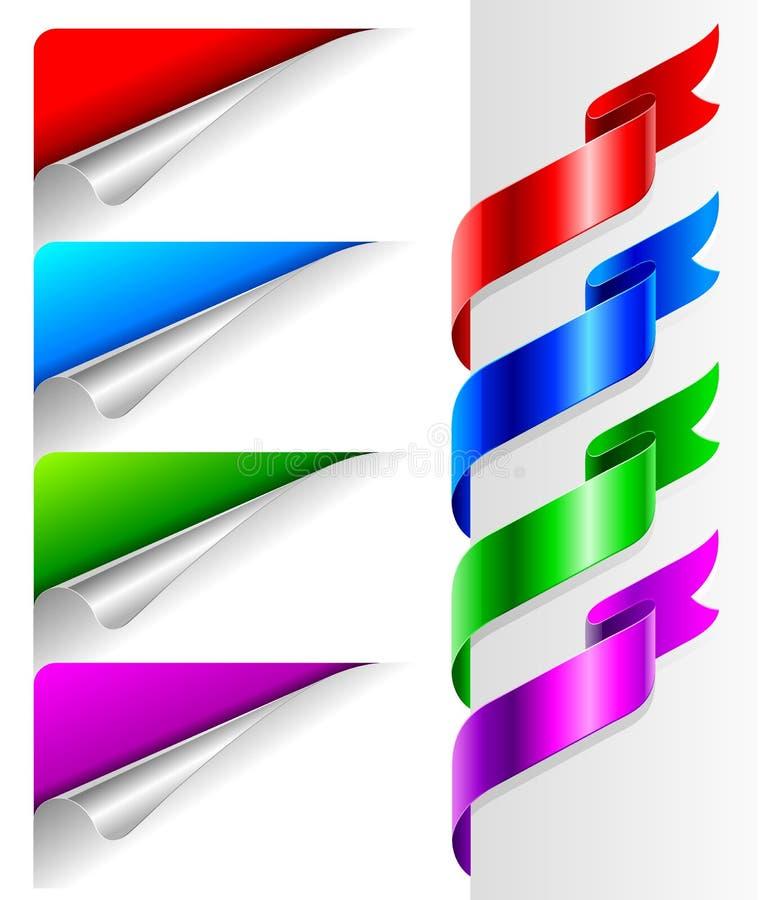 弯的颜色角落纸丝带 皇族释放例证