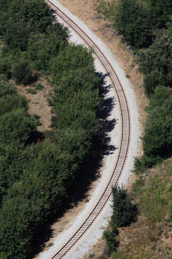 弯铁路轨道 免版税库存照片