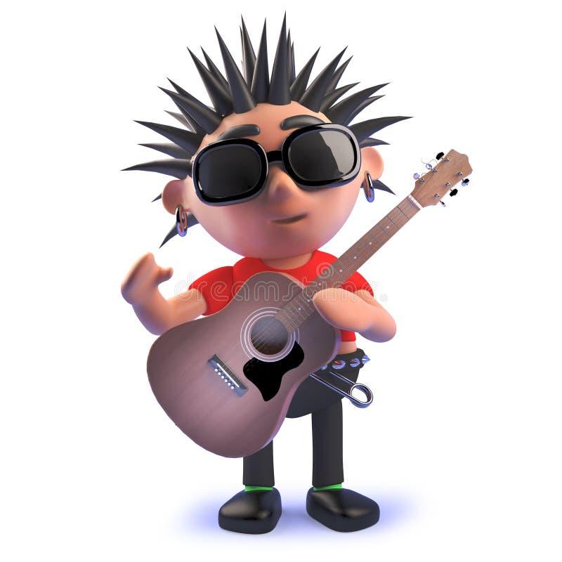 弹一把声学吉他的动画片腐烂的3d庞克音乐的表演者字符 库存例证
