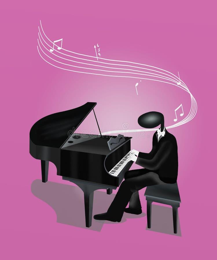 弹与音符和S的钢琴演奏家人钢琴 库存例证