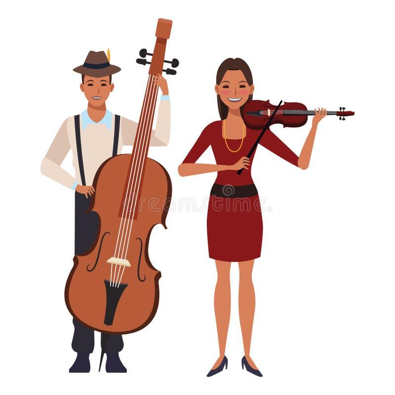 弹低音和小提琴的音乐家 皇族释放例证