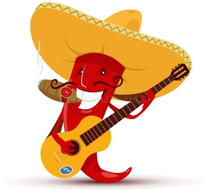 弹吉他和抽雪茄的红辣椒 向量例证