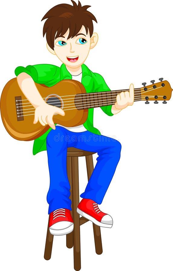弹吉他的逗人喜爱的男孩 库存例证