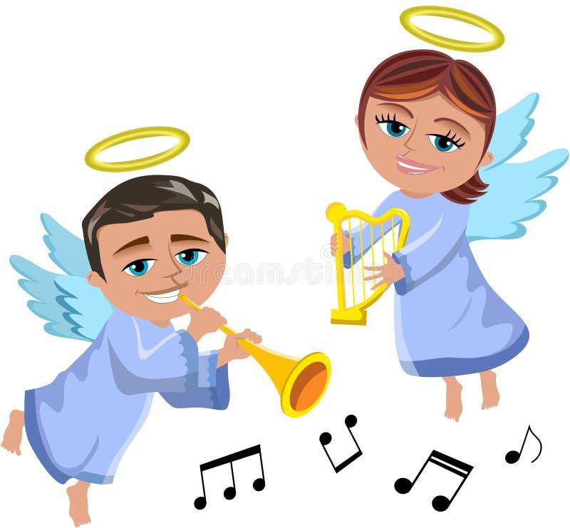 弹喇叭和竖琴的圣诞节天使 皇族释放例证