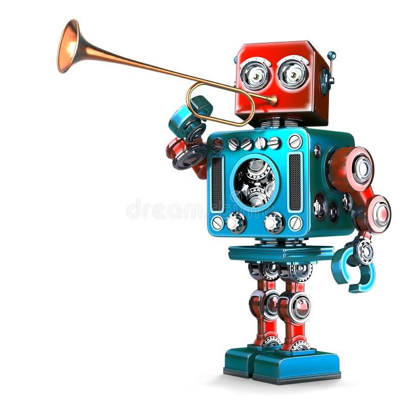 弹喇叭的葡萄酒机器人 3d例证 查出 琼泰 向量例证