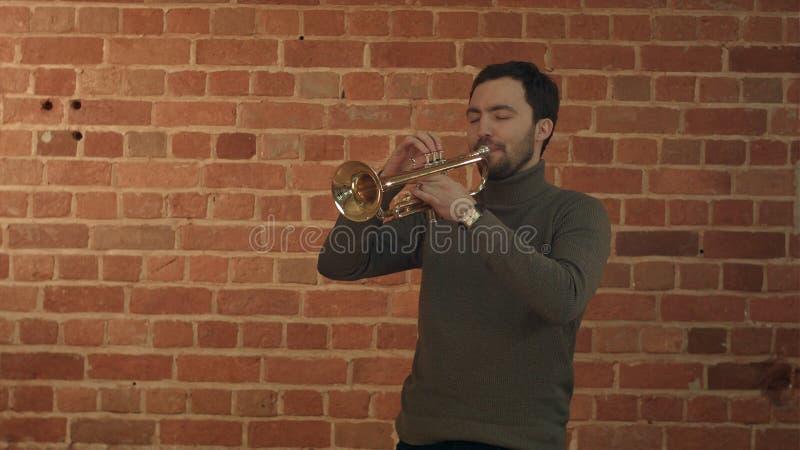 弹喇叭的音乐家 免版税库存照片