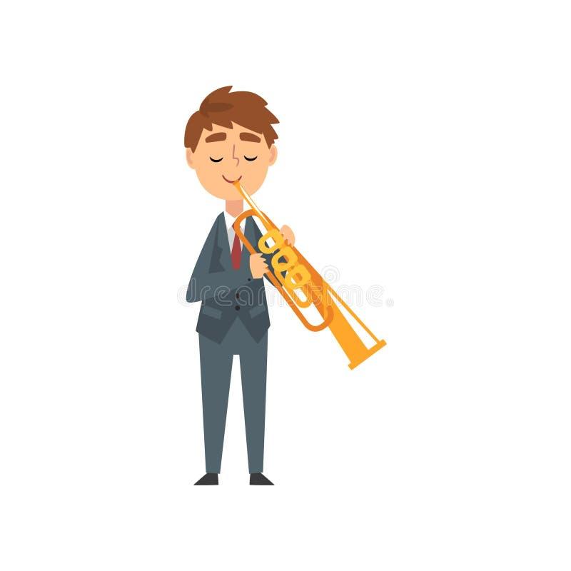 弹喇叭,有天才的年轻号手字符的男孩弹奏乐器在古典音乐传染媒介音乐会  库存例证