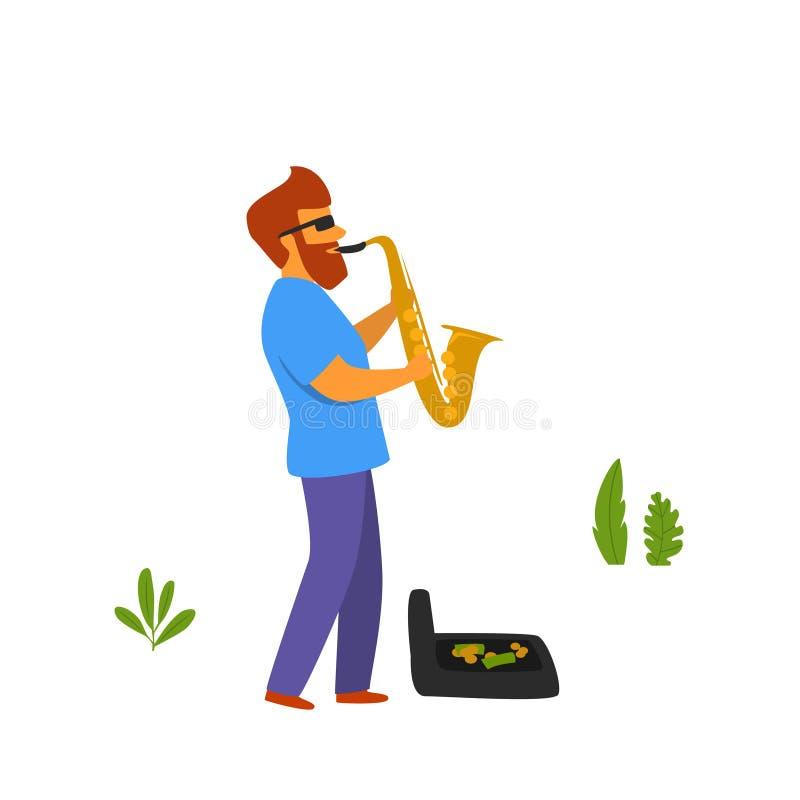 弹在公园传染媒介的街道音乐家萨克斯管 库存例证