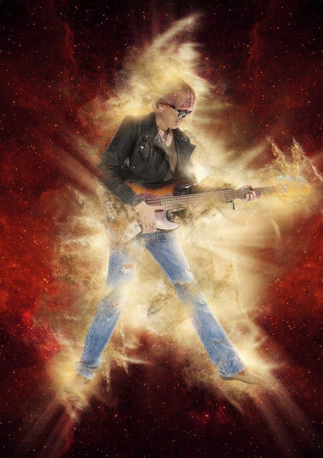 弹在红色的妇女电吉他 免版税库存照片