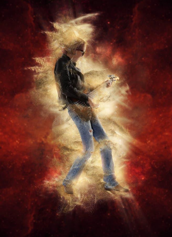 弹在红色的妇女电吉他 免版税图库摄影