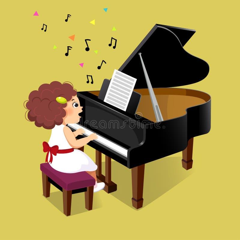弹在黄色背景的逗人喜爱的女孩大平台钢琴 向量例证