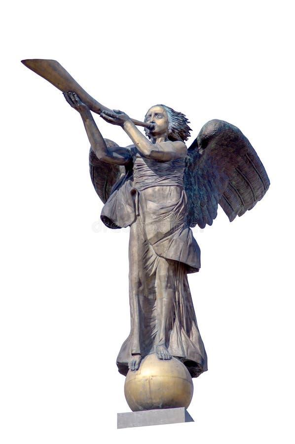 弹奏一个乐器的天使的符号图 免版税库存照片