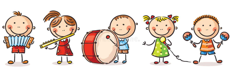 弹奏不同的乐器的孩子 库存例证
