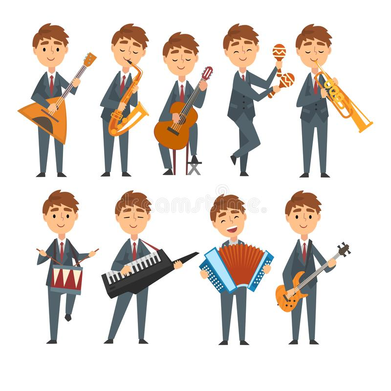 弹奏不同的乐器的音乐家男孩设置了,演奏俄式三弦琴,萨克斯管的有天才的儿童字符 库存例证