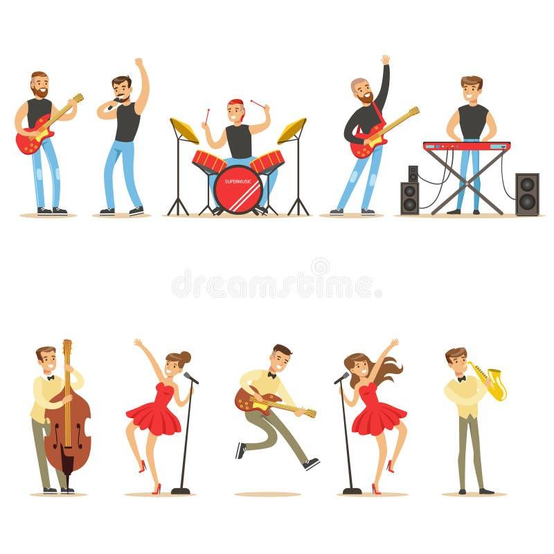 弹奏乐器和唱歌在阶段音乐家动画片传染媒介字符音乐会系列的艺术家  向量例证